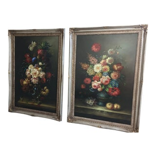 Floral Sill Life Paintings - A Pair