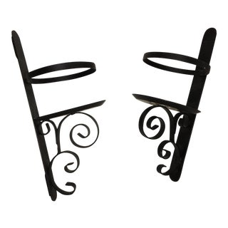 Black Metal Wall Candle Sconces - A Pair