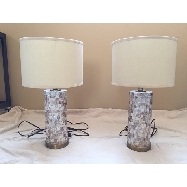 Mother of Pearl Tile Base Table Lamps - A Pair - Image 2 of 5