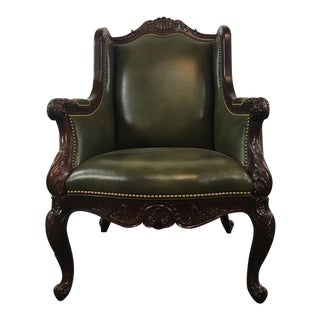 Italian Renaissance Style Wood and Green Leather Upholstered Armchair