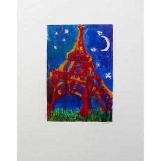 """Eiffel Tower at Night"" Original Print by Martha Holden"