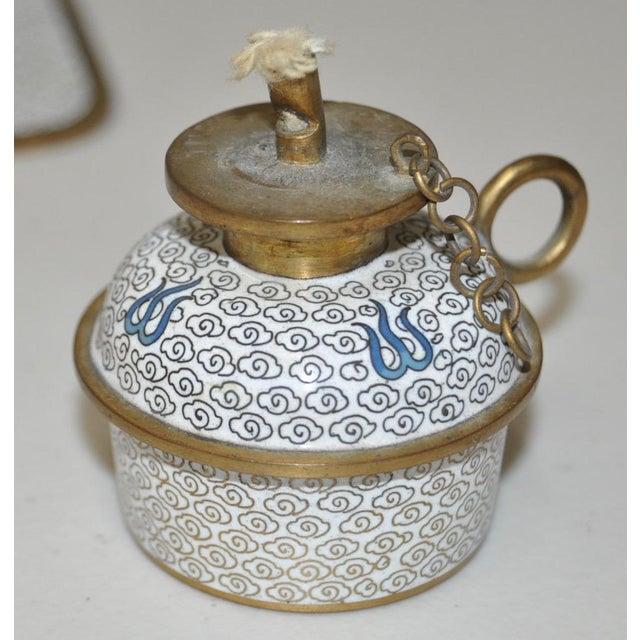 Blue & White Cloisonne Enameled Desk Set - Image 7 of 11
