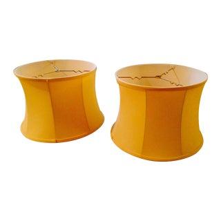 Yellow Silk Lampshades - A Pair