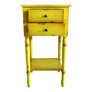 2 Drawer Yellow Distressed Accent Table