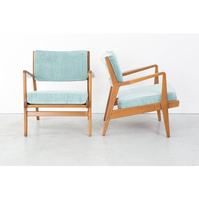Image of Jens Risom Vintage Walnut Lounge Chairs - A Pair