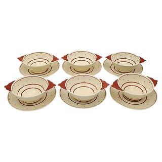 Susie Cooper Polka Dot Soup Bowls - Set of 6