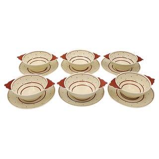Susie Cooper Polka Dot Soup Bowls - Set of 6