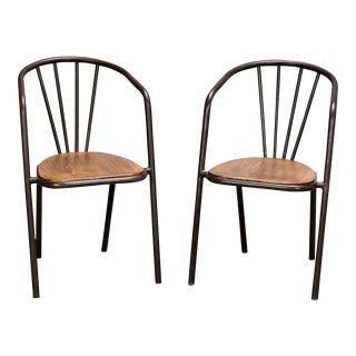 Mid-Century Metal & Wood Armchairs - Set of 6