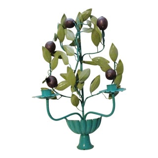 Italian Tole Plum and Teal Candle Sconce