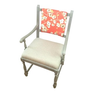 Coral & Gray Wooden Chair