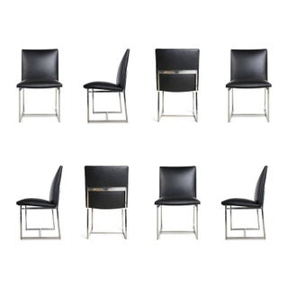 Milo Baughman Dining Chairs Reupholstered in Edelman Leather, Circa 1970 - Set of 8
