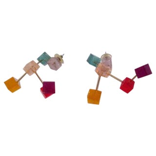 Vintage Cubist Modular Lucite Earrings