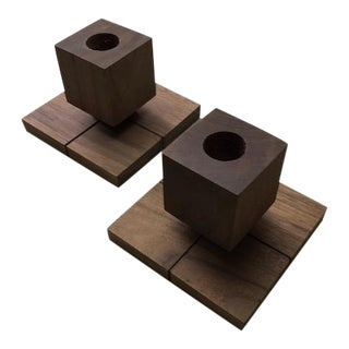 Geometric Wood Candlestick Holders - A Pair