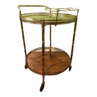 Round Mid-Century Brass Bar Cart