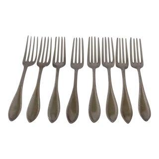 Elegant Beaded Design Dinner Forks S/8