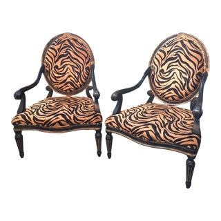 Tiger Print French Quarter Arm Chairs - A Pair