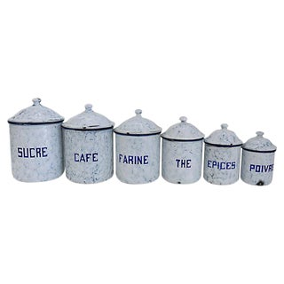 French Enamel Kitchen Canisters- Set of 6