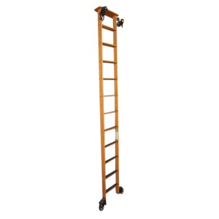 Wooden Rolling Library Ladder