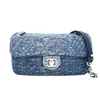 Chanel Single Flap Bag w/Camellia Stitch Denim