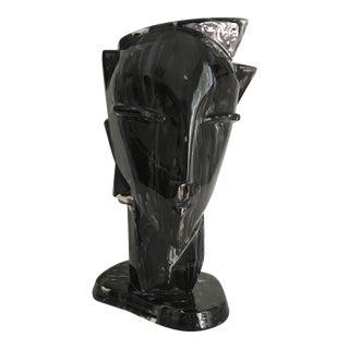 Vintage Ceramic Modernist Art Deco Lindsey Balkweill Style Glazed Head Sculpture
