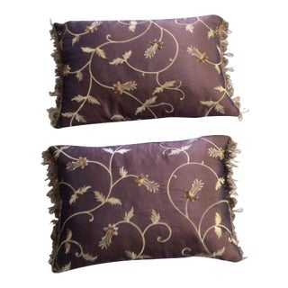 Brown Silk Embroidery Pillows - A Pair