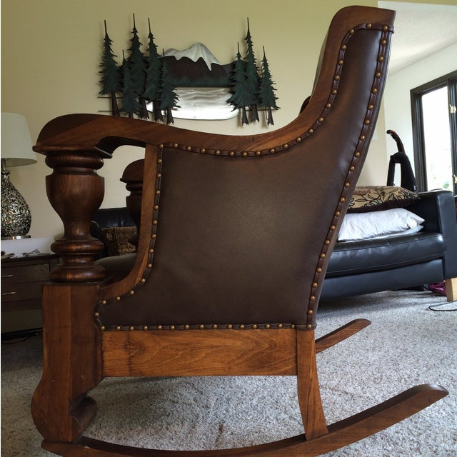 Antique Mission Style Oak & Leather Rocking Chair - Image 3 of 10