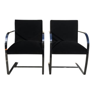 Mid-Century Milo Baughman Chrome Arm Chairs - A Pair
