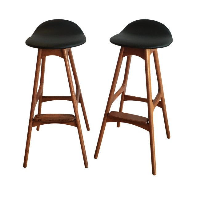 Erik buch bar stools a pair chairish - Erik buch bar stool ...
