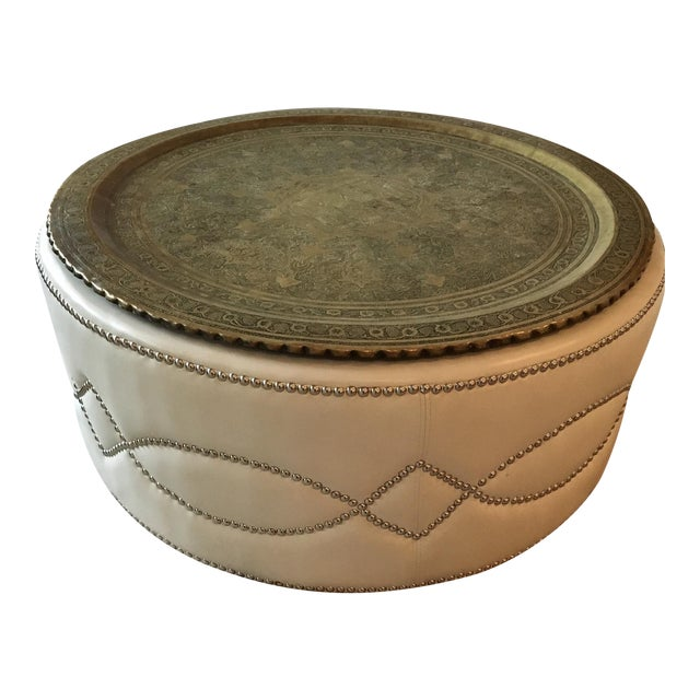 Custom Stud Leather Coffee Table With Brass Tray - Image 1 of 7