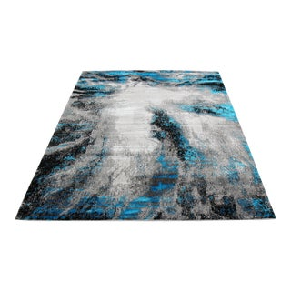 Black & Blue Abstract Rug - 8' x 10'