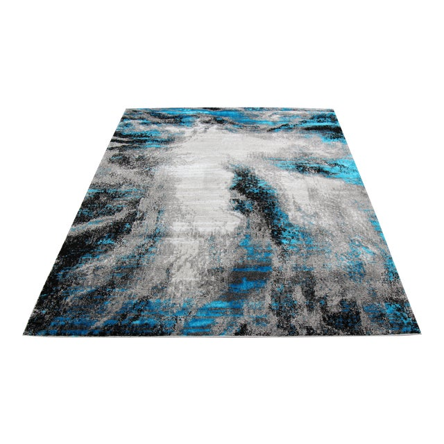 Black & Blue Abstract Rug - 8' x 10' - Image 1 of 3