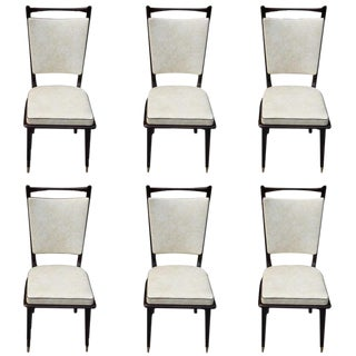 Vintage French Art Deco Dark Mahogany Dining Chairs - Set of 6