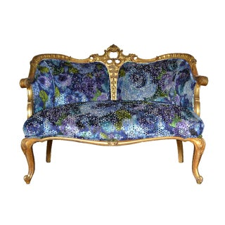 Antique French Gilded Rococo Upholstered Settee