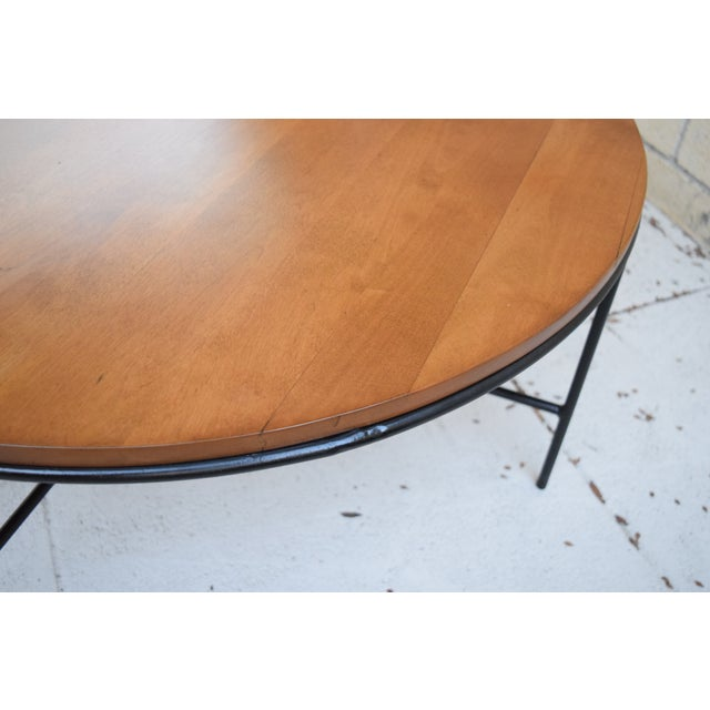 Image of Paul McCobb Mid Century Modern Iron Base Round Coffee Table