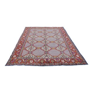 """Vintage Hand-Knotted Boho Chic Wool Area Rug - 6'3"""" X 9'2"""""""