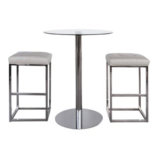 Contemporary Mitchell Gold & Bob Williams Chrome and Leather Bistro Set