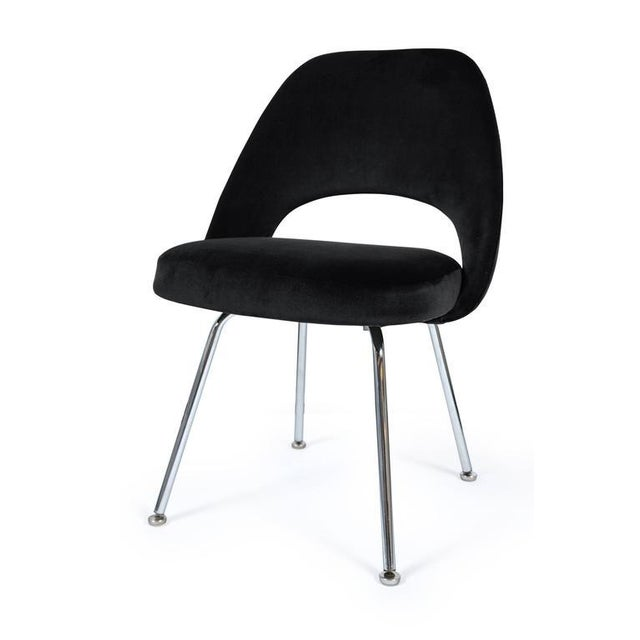 Saarinen Executive Armless Chairs in Black Velvet, Set of Six - Image 3 of 3
