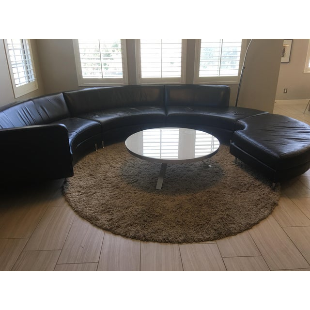 American Leather Black Leather Sectional - Image 7 of 11