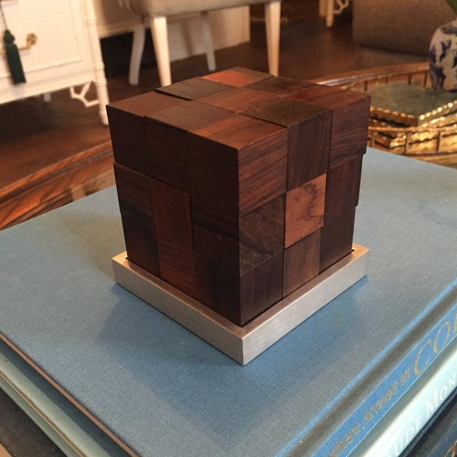 Mid Century Modern Danish Rosewood Teak Parker Brothers Cube Puzzle Game - Image 4 of 11