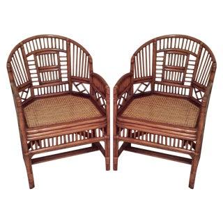 Brighton Pavillion Rattan Arm Chairs - A Pair