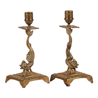 A pair of large square base dolphin candlesticks from France c.1875.