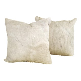 Ivory Cowhide Pillows - Pair