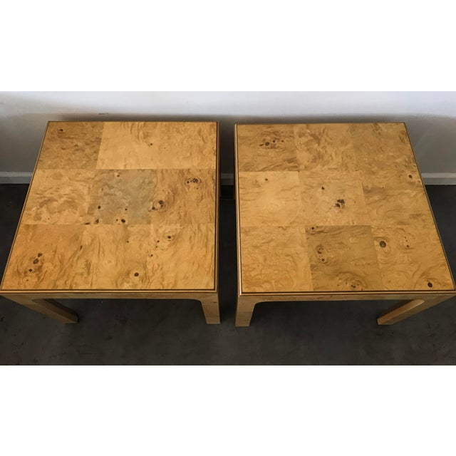 Henredon Scene Two Burl Olive Wood Side Tables - A Pair - Image 2 of 4