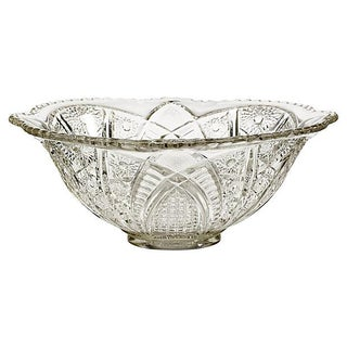 1900s Floral Pressed Glass Bowl