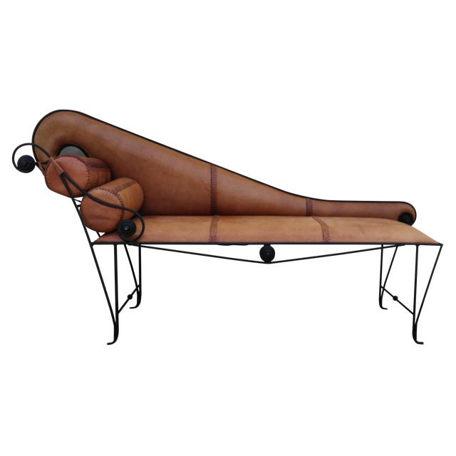 Whimsical Wrought Iron & Leather Daybed - Image 1 of 5