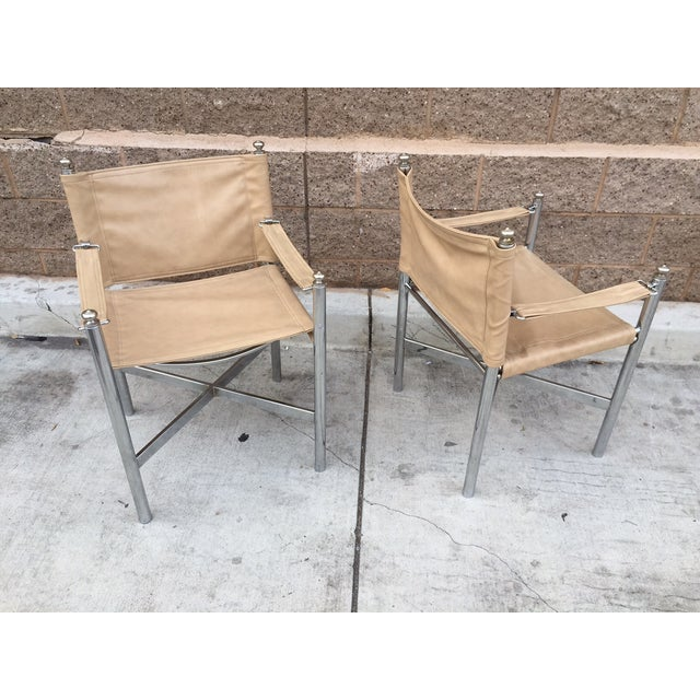 Hollywood Regency Chrome & Vinyl Chairs - Set of 4 - Image 3 of 3