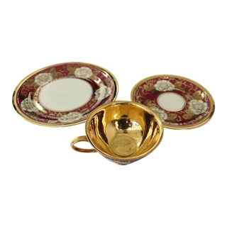 Rosenthal Gold Red White Porcelain Bone Chine Tea Coffee Set