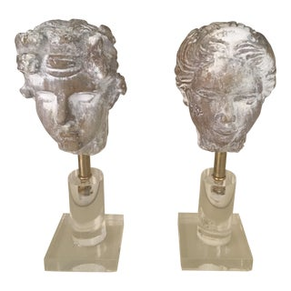 Classical Whitewashed Busts on Acrylic & Brass Stand - A Pair