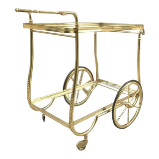 French Brass Two Tier Bar Cart