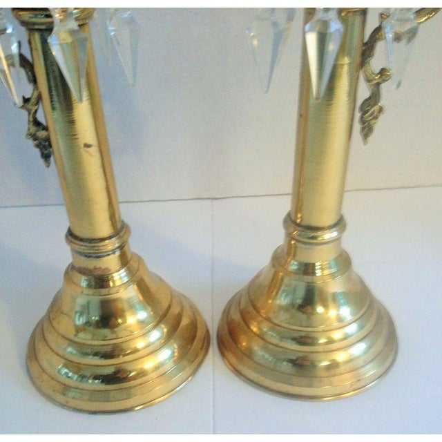 Image of Brass Push Up Hurricane Candle Holders - Pair